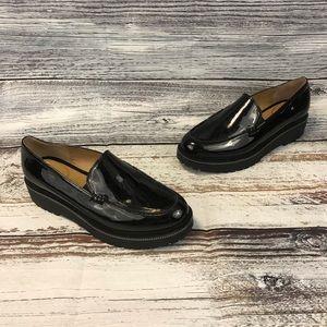 Franco Sarto Static Black Patent Platform Loafers
